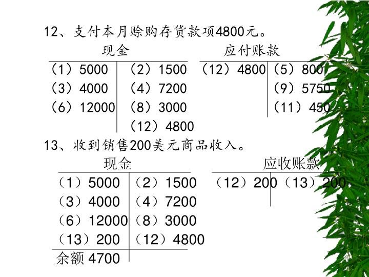 12、支付本月赊购存货款项4800元。