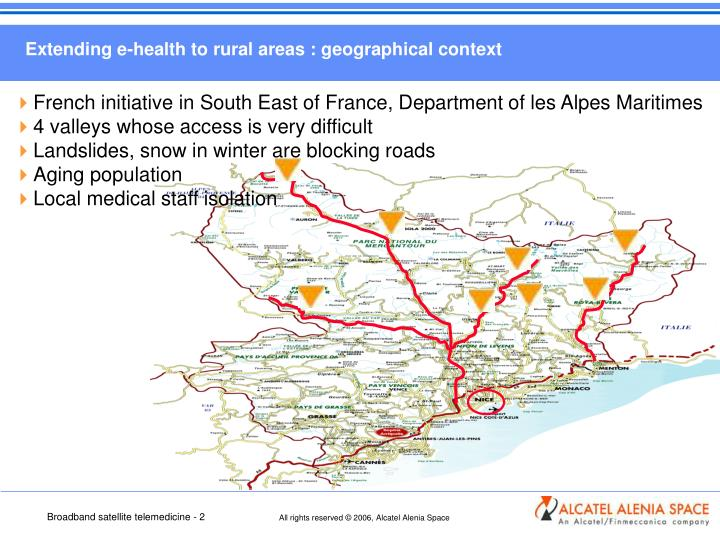 Extending e-health to rural areas : geographical context