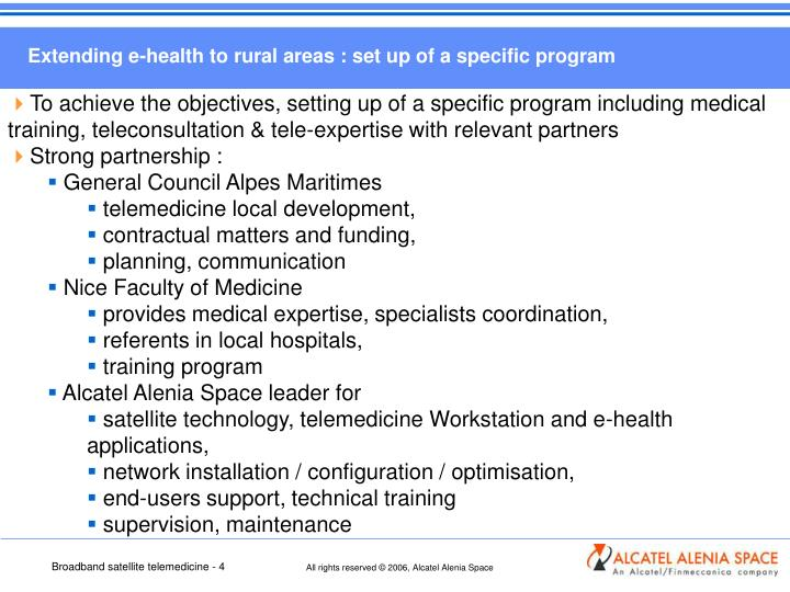 Extending e-health to rural areas : set up of a specific program