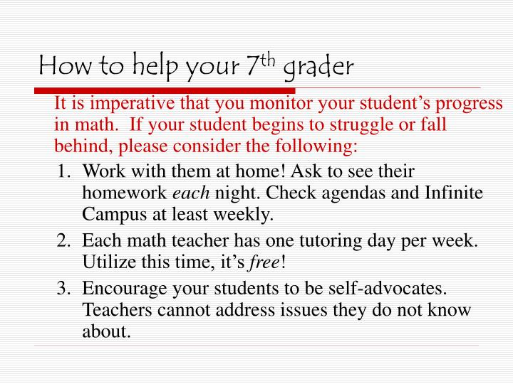 How to help your 7 th grader