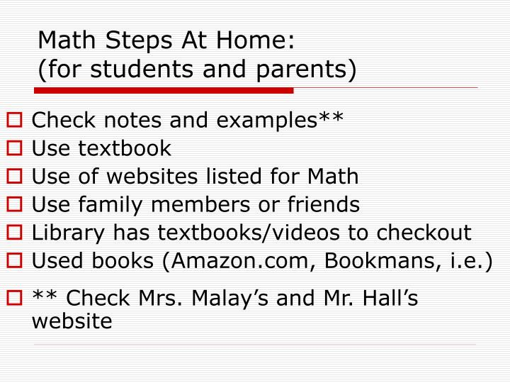 Math Steps At Home:
