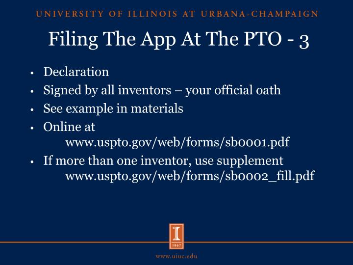 Filing The App At The PTO - 3