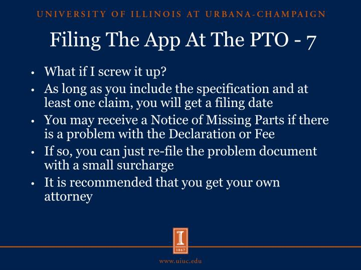 Filing The App At The PTO - 7