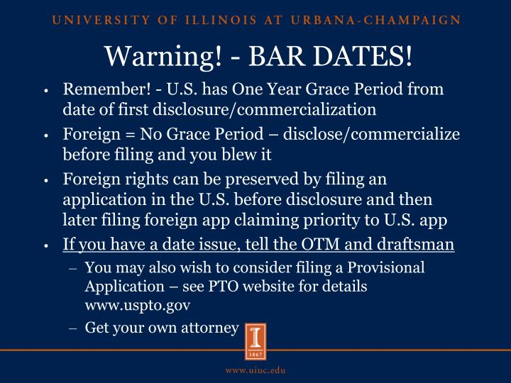 Warning! - BAR DATES!