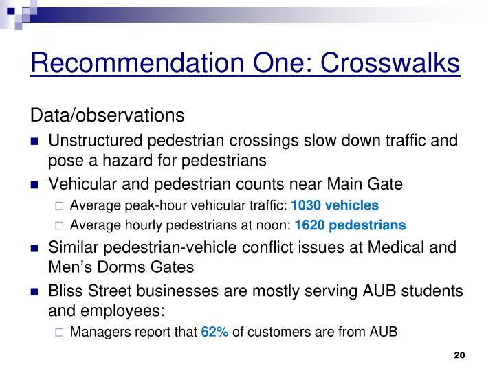 Recommendation One: Crosswalks