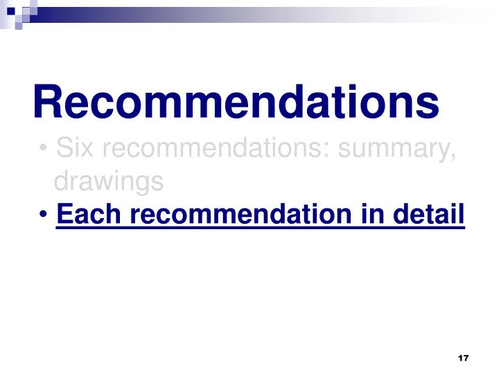 Six recommendations: summary,