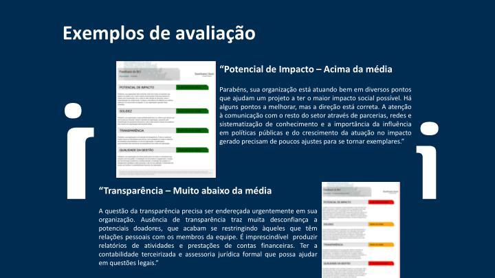 Exemplos de avaliação