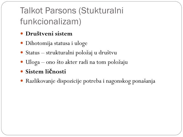 Talkot Parsons (Stukturalni funkcionalizam)