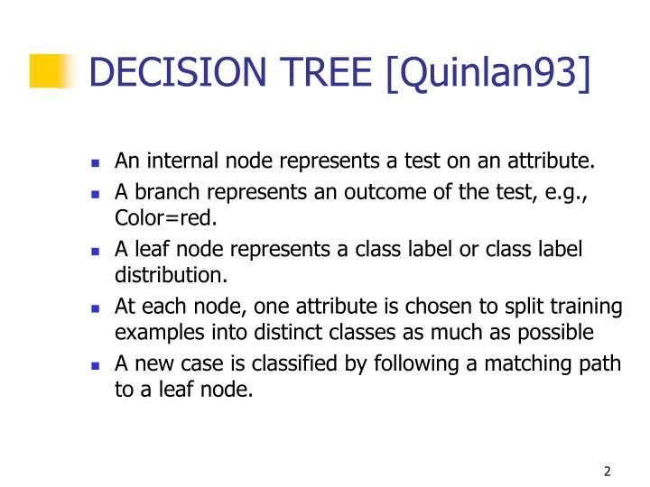 DECISION TREE [Quinlan93]