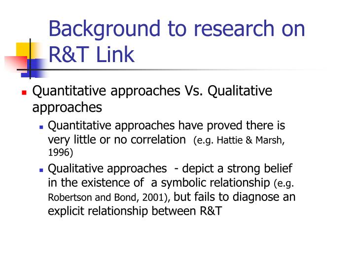 Background to research on R&T Link