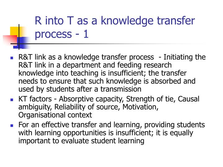 R into T as a knowledge transfer process - 1