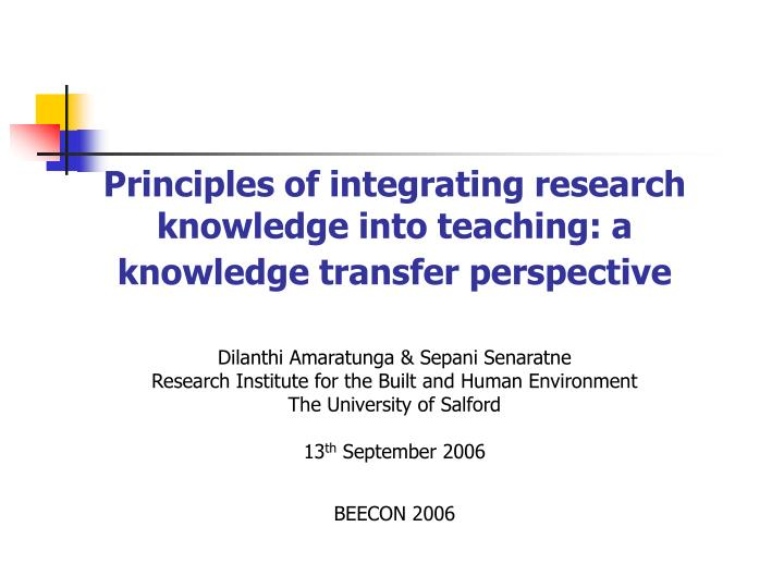 Principles of integrating research knowledge into teaching: a knowledge transfer perspective