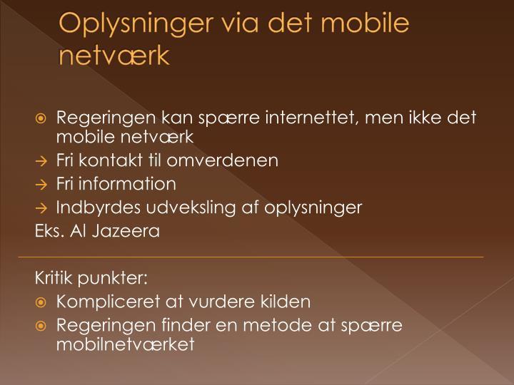 Oplysninger via det mobile netværk