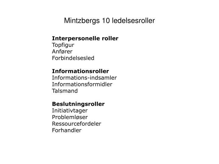 Mintzbergs 10 ledelsesroller