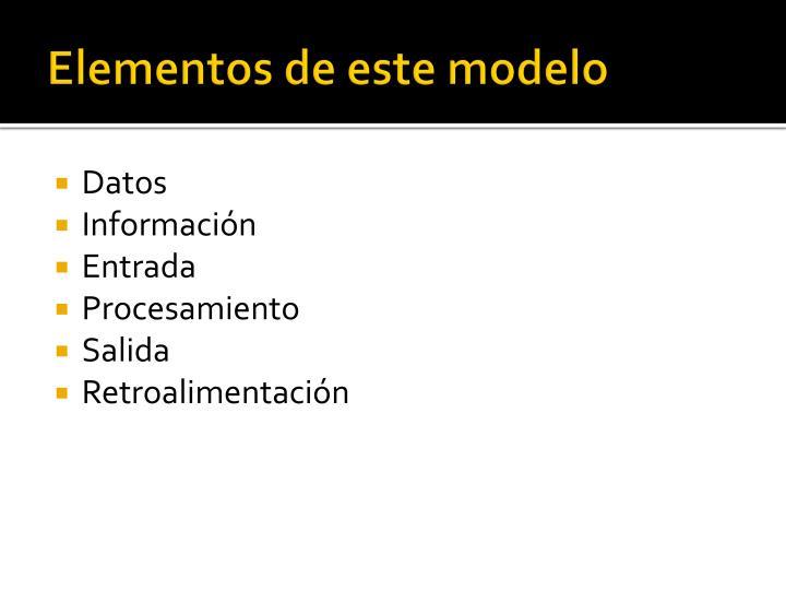 Elementos de este modelo