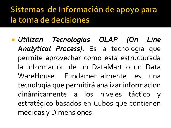Sistemas  de Información de apoyo para la toma de decisiones