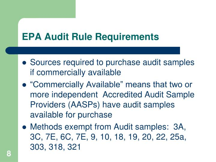 EPA Audit Rule Requirements