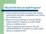 why did we have an audit program