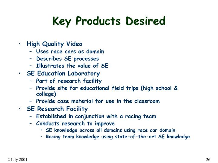 Key Products Desired