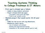 teaching systems thinking to college freshman it minors
