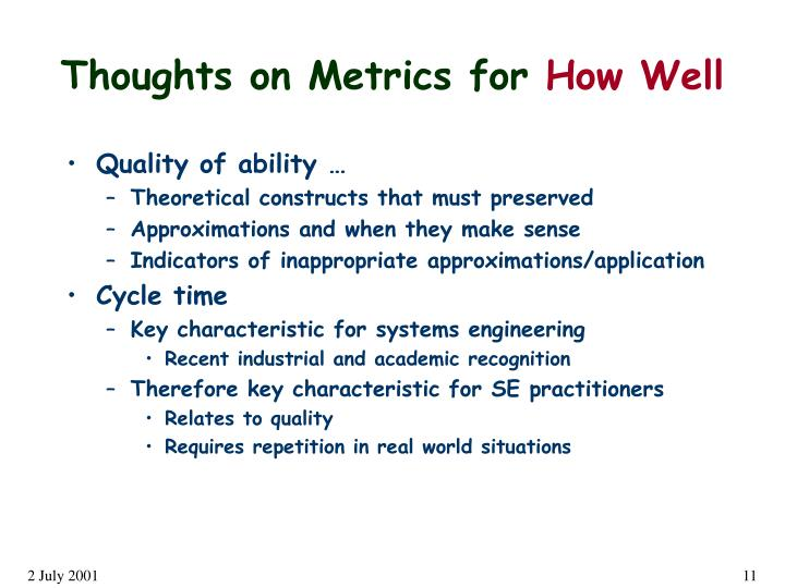 Thoughts on Metrics for