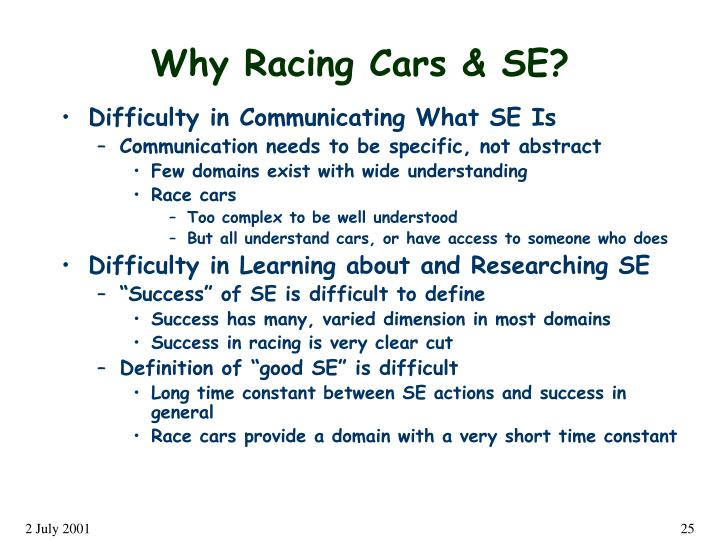 Why Racing Cars & SE?