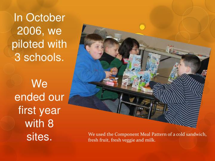 In October 2006, we piloted with 3 schools.