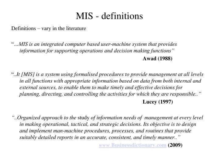 MIS - definitions