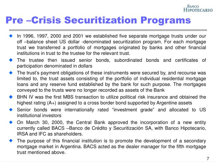 Pre –Crisis Securitization Programs