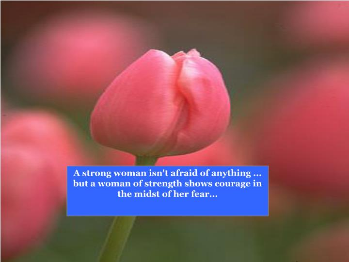 A strong woman isn't afraid of anything ...