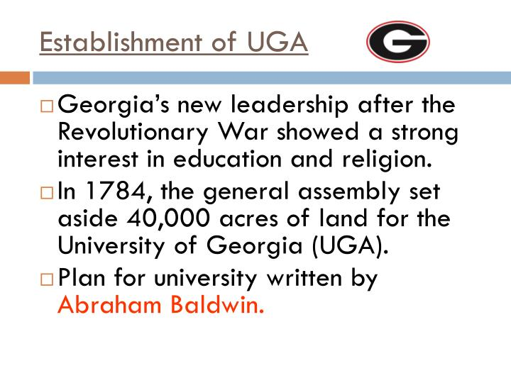 Establishment of UGA