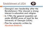 establishment of uga