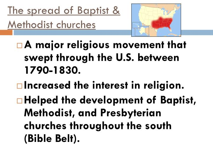 The spread of Baptist & Methodist churches