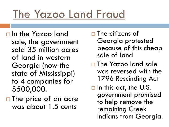 The Yazoo Land Fraud