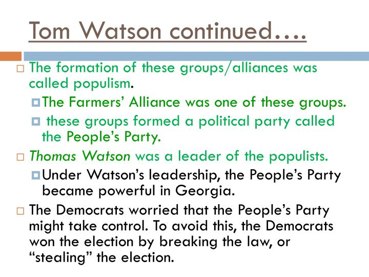Tom Watson continued….