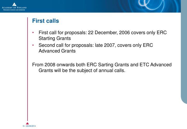 First calls