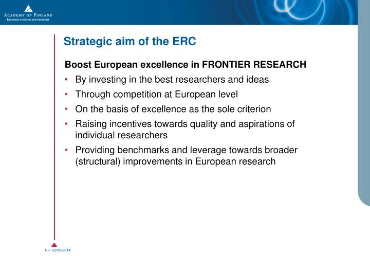 Strategic aim of the ERC