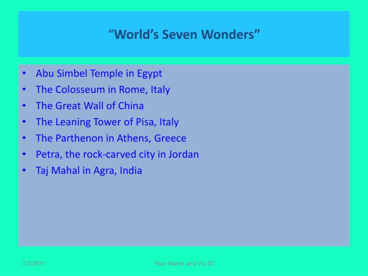 World s seven wonders1