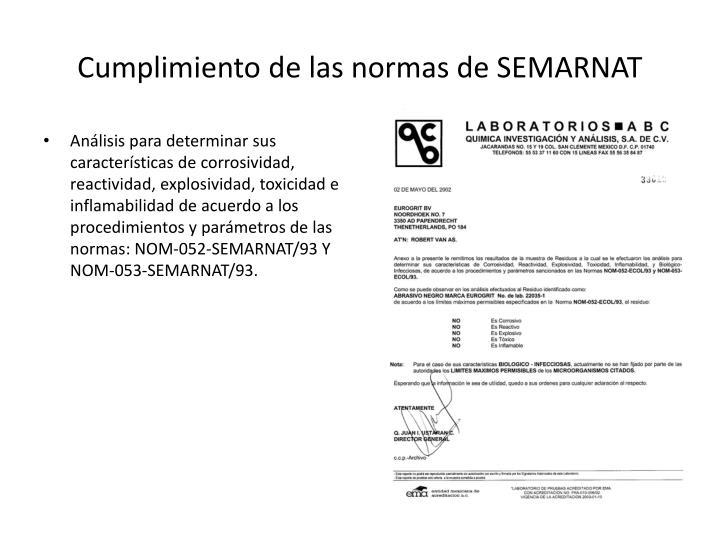 Cumplimiento de las normas de SEMARNAT