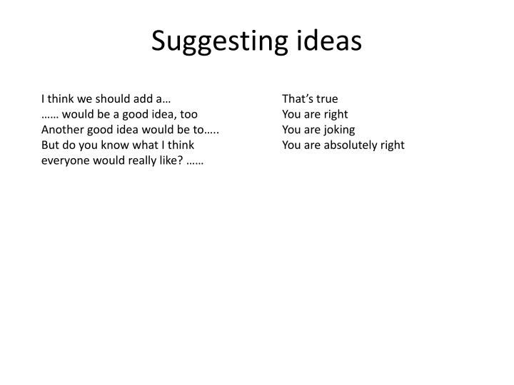 Suggesting ideas