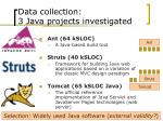 data collection 3 java projects investigated
