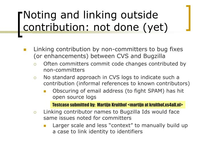 Noting and linking outside contribution: not done (yet)