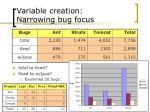 variable creation narrowing bug focus