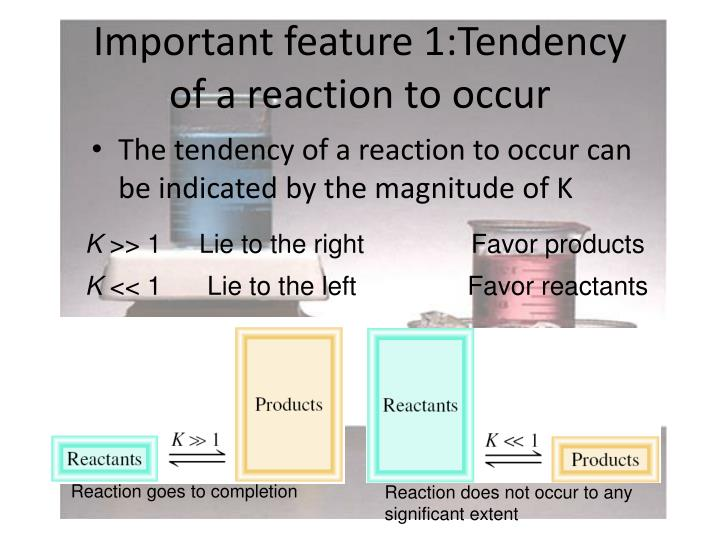 Important feature 1:Tendency of a reaction to occur