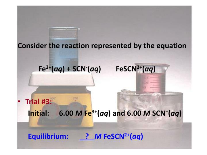Consider the reaction represented by the equation