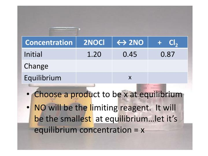 Choose a product to be x at equilibrium