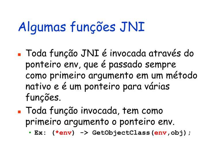 Algumas funções JNI