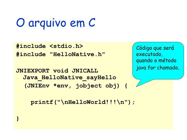 O arquivo em C