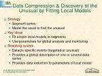 data compression discovery of the unusual by fitting local models