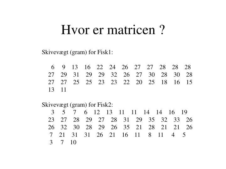 Hvor er matricen ?